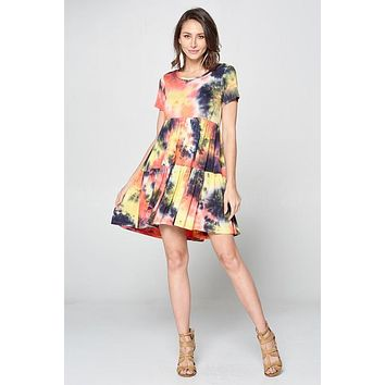Tie-Dye Tiered Babydoll Dress