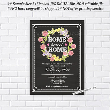 housewarming invitation,  New house home sweet home Invitation Card wreath design Invitation Card Design chalkboard - card 202