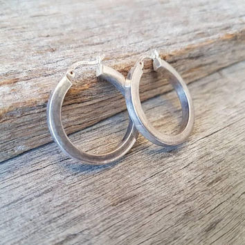 Vintage Sterling Silver Hoop Earrings , Classic Ladies Silver Hoops , Medium Size , Gifts For Her