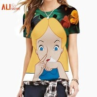 Couple Alice T Shirt Summer Men Women 3d Print Smoke Weed Pattern T Shirt Camisetas Short Sleeves O-Neck Compression Tees Homme