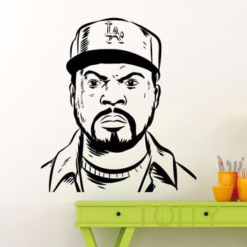 Ice Cube Head Wall Sticker Hip Hop Rap Music Vinyl Decal Home Interior Decoration American Idol Art Mural Dorm Poster