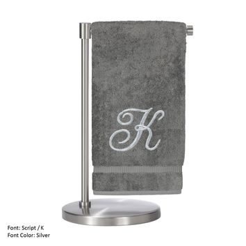 Monogrammed Bath Towel, Personalized Gift, 27 x 54 Inches - Set of 2 - Silver Script Embroidered Towel - 100% Turkish Cotton- Soft Terry Finish - For Bathroom,Kitchen or Spa - Script K Gray