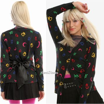Licensed cool Sailor Moon Symbols Black Cardigan Sweater Black Satin Tie Hot Topic Exclusive
