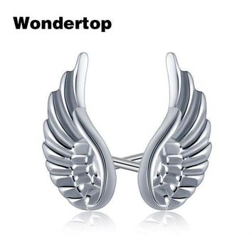 Wondertop Genuine 925 Sterling Silver Angel Wing Feather Stud Earrings For Women Party 2017 Trendy Fashion Jewelry