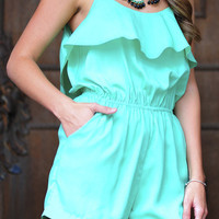 On My Way Up Romper: Mint | Hope's