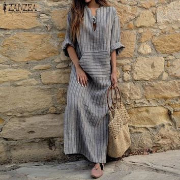Rustic Striped Cotton Casual Linen Look Pocketed Maxi Dress