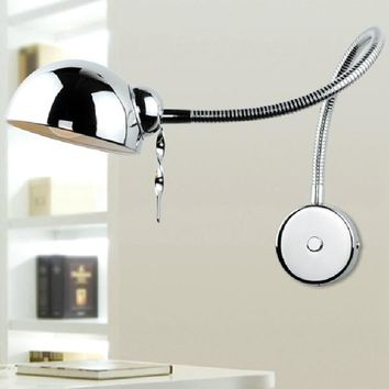 Modern Swing Arm Wall Lamp Flexible Tube Mirror Bedroom Light