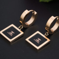 Chanel new square shining earrings