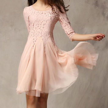 Pink Floral Applique Lace Chiffon Dress