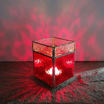 Stained Glass Candle Holder, Red and Clear, Christmas Candle Holder, Votive Holder, Tea Light Holder, Christmas Decor, Holiday Decor