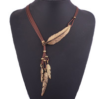 5 Colors New Fashion Hyperbole Metal Crystal Feather Necklaces& Pendants Retro Women Jewelry