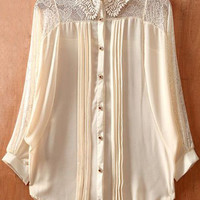 Beige Batwing Sleeve Lace Collar Pintucks Pleated Sheer Blouse - Sheinside.com
