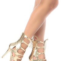 Gold Faux Nubuck Cut Out Lace Up Heels @ Cicihot Heel Shoes online store sales:Stiletto Heel Shoes,High Heel Pumps,Womens High Heel Shoes,Prom Shoes,Summer Shoes,Spring Shoes,Spool Heel,Womens Dress Shoes