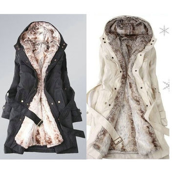 Faux fur lining women's winter warm long fur coat jacket clothes (US Size) = 1652583364