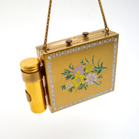 Vintage Compact  & Cigarette Holder w/Lipstick Case, Two Sided Design, Flowers and Cigarette, Gold Tone Metal Carryall, c 1950s