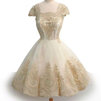 Robe Embroidered Lace Tulle Elegant Short Dresses High Waist Ball Gown