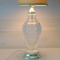 Vintage Hollywood Regency Lamp, Glass Table Lamp, Brass and Crystal Urn Lamp