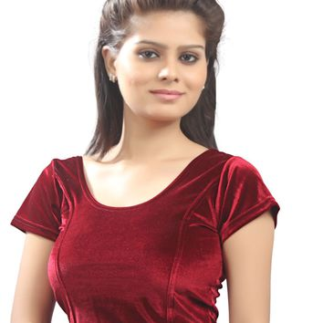 Maroon Velvet Chic Ready-made Saree Blouse Sari Choli - A-9