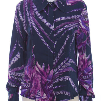 JUST CAVALLI Purple Silk Floral Button Down Blouse Top Size 12