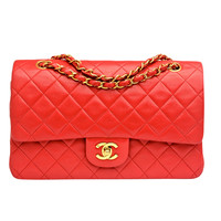 Chanel Vintage Red Quilted Lambskin Large Classic 2.55 Double Flap Bag