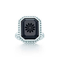 Tiffany & Co. -  Ziegfeld Collection daisy ring in sterling silver and black onyx.