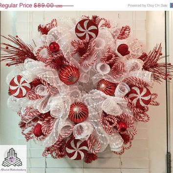 ON SALE Christmas Peppermint Snowball Red/White Deco Mesh Wreath