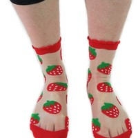 SEE THROUGH CREW SOCK STRAWBERRY