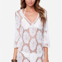 Frills and Lace White Lace Cover-Up