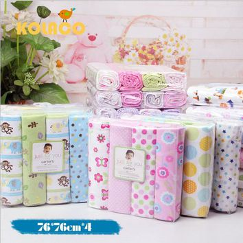 4Pcs/Pack 100% cotton supersoft flannel receiving baby blanket 76*76CM