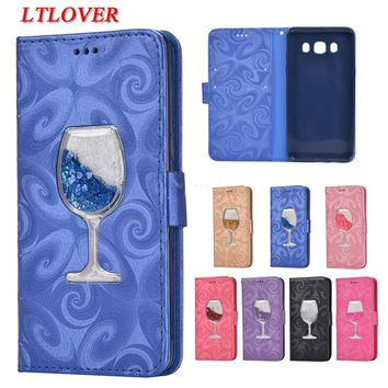 For J5 2016 3D Red wine glass Quicksand Liquid Flip Leather Case For Samsung Galaxy J5 2016 J510 J510F Cases Mobile Phone Shell
