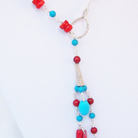 Turquoise and Red Coral Lariat, Wire Wrapped necklace, Gemstone Necklace, Red and Blue, Handmade jewelry, UK Seller