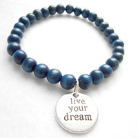 Dark Blue Mens Beaded Bracelet - Live Your Dream Bracelets - Mens Wooden Beaded Jewelry - Gift For Boyfriend - Graduation Gifts