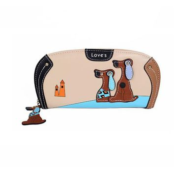 Women Cute Dog Stitching Zipper Long Wallet