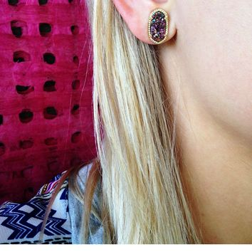 Ellie Stud Earrings in Multi-Color Drusy - Kendra Scott Jewelry