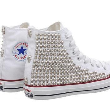 studded converse white converse with silver tiny cone studs one side studded by cust