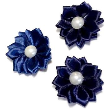 """Navy blue 1.5"""" satin petal flower with pearl center"""