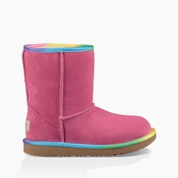 UGG Girls' Classic II Rainbow Pull-Up Boots Little Kid | Pink Azalea