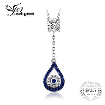 JewelryPalace Fashion 1.37ct Created Blue & Black Spinel Necklaces Pendants 925 Sterling Silver Chain Charm Wedding Fine Jewelry