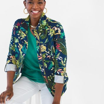 Chico's Luxe Twill Tropical Utility Jacket