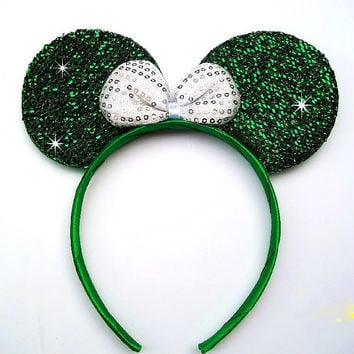 Minnie Mouse Ears Headband Green Sparkle White Bow Mickey Mouse Ears, Disneyland, Disney World
