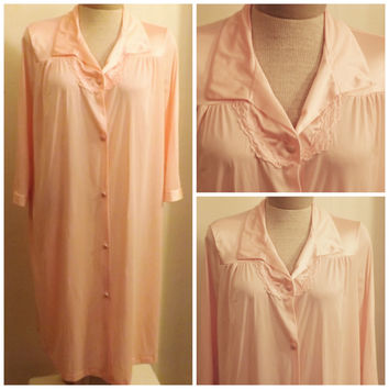 Vintage Vanity Fair Peach Button Front Peignoir Robe Size S