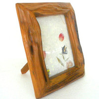 Rustic Teak Wood Photo Frame With Glass Wall Hanging / Stand Natural Driftwood Art Home Decor Reclaimed Handmade Wooden Picture Frame  Gift