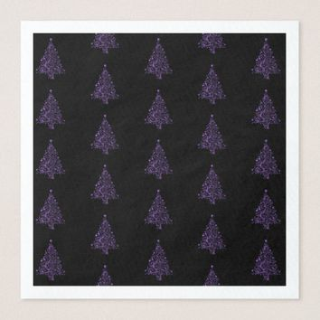 Merry Christmas Tree Pattern Purple Black Elegant Paper Dinner Napkin