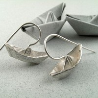 $47.53 Origami Boat Earrings by monteazul on Etsy