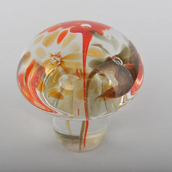 Glass Decoration of Clear Mushroom with Orange & Green Flowers Inside Home Decor Murano Art Styled Blown Glass Figurine Colorful Statue