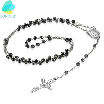Boniskiss Glass Beaded Necklace Cross Pendant Jesus Prayer Stainless Steel Necklace For Women Men Religion Jewelry ping