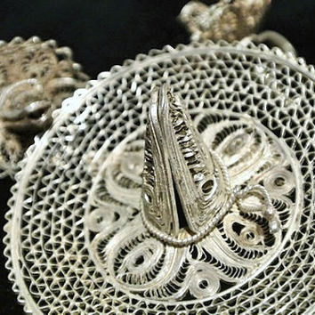 Mexico Silver Brooch Earrings Cannetille Filigree Lace Demi Parure Sombrero Mariachi 1940s Southwestern Artisan Hand Crafted Wedding Jewelry