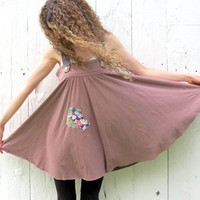 Upcycled Dress , Tunic Dress , brown trapeeze dress , gypsy patchwork dress , Mori Girl Romantic , Womens size Large , repurposed clothing