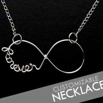 CUSTOM Personalized Wire Name / Word INFINITY Necklace 925 Sterling Silver