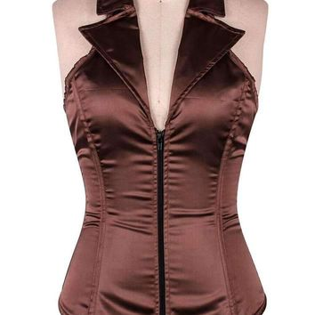 Daisy Corsets Female Brown Collared Front Zipper Corset LV-07